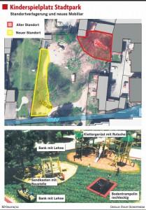 Abbildung des neuen Kinderspielplatz Standortes im stadtpark Schopfheim