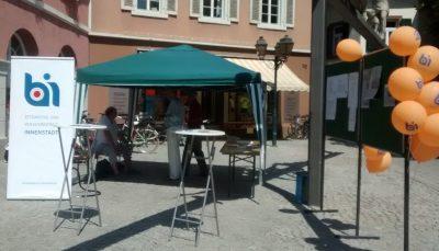 """Marktstand der BI """"Attraktive verkehrsfreie Innenstadt"""" im Jahr 2018"""